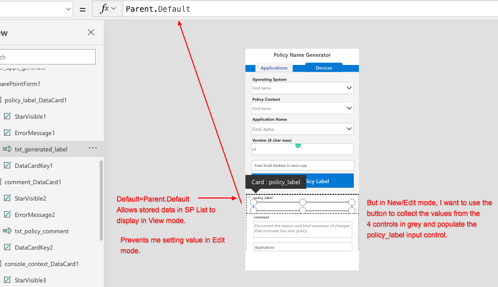 if Default=Parent.Default, can't set value, if Default=variable, can't use in View/Edit Mode.