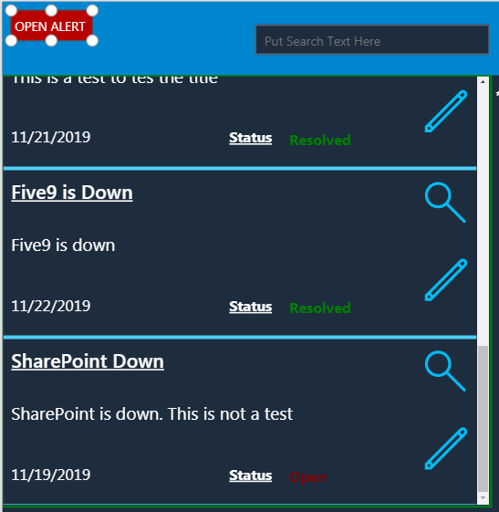 The View of the Powerapp