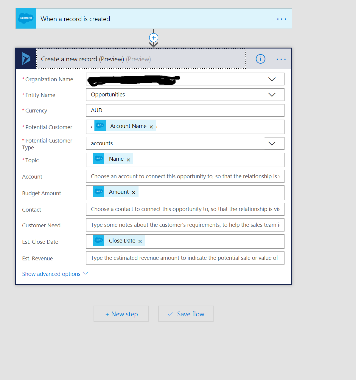 Salesforce User Flow: Salesforce To Dynamics 365 CRM Opportunity Failing