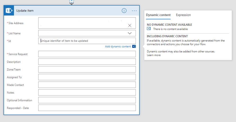 SharePoint Get an Item: Allow external dynamic con