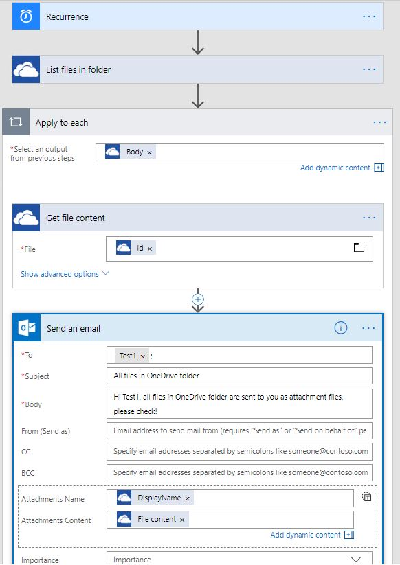 Get All As: Get All The Files In Onedrive Folder As Email Atta