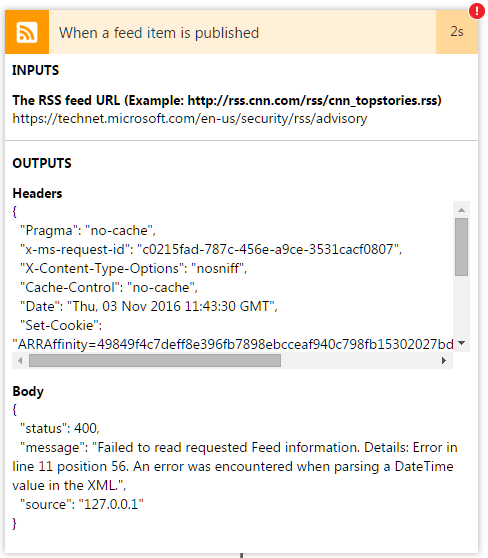 Multiple RSS feed errors - Power Platform Community