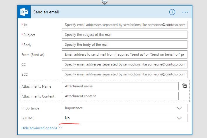 Send eMail as plain text - Power Platform Community