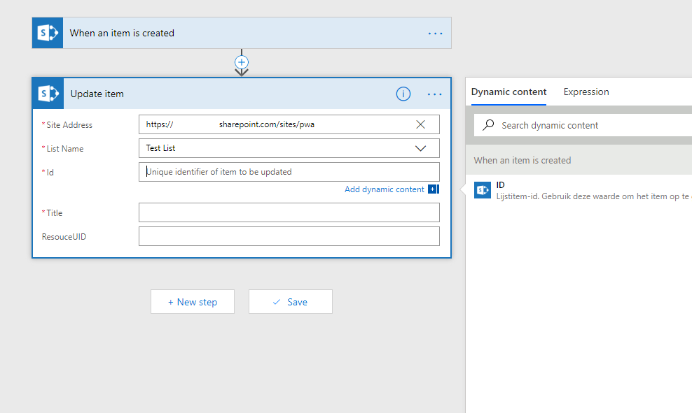 Blank page when configuring SharePoint Update Item - Power