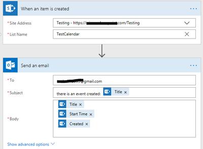 SharePoint calendar event emailed to gmail address - Power Platform
