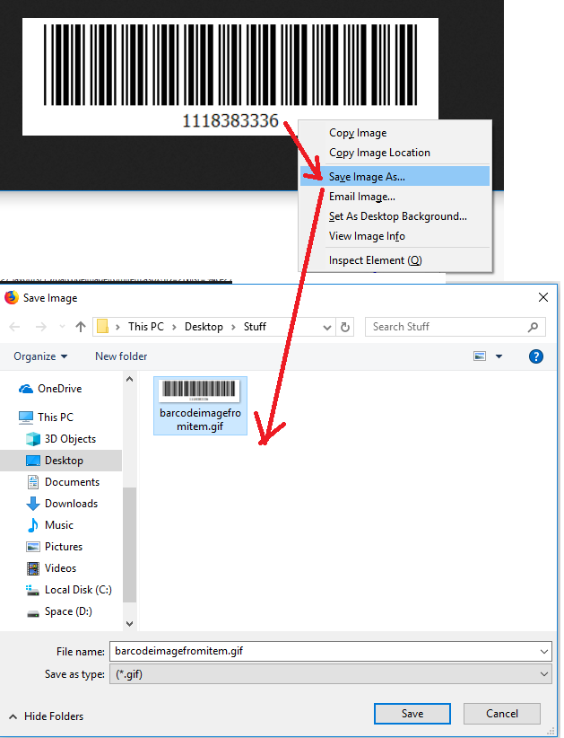 barcode URL, save the barcode image.PNG