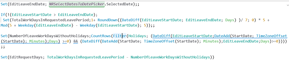 Issue calculating days Leave Request App - Power Platform
