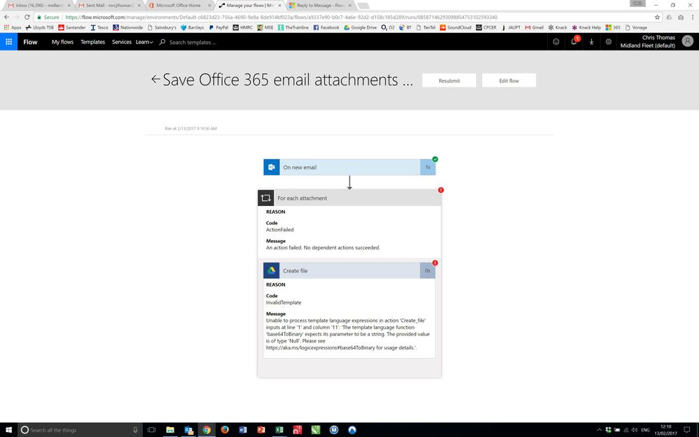 Save Office 365 email attachments to Google Drive