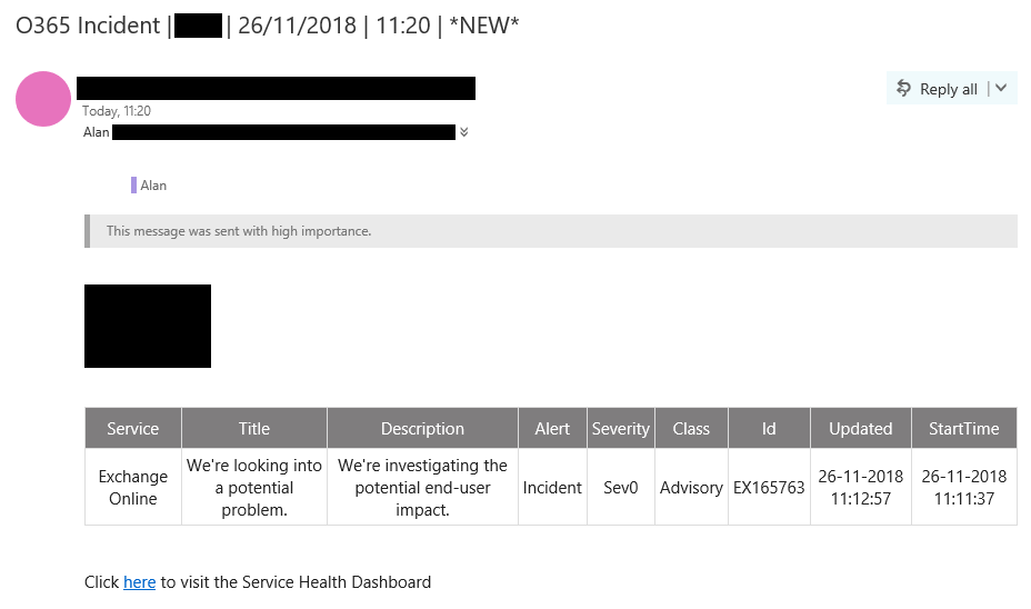 Retrieving Office 365 Service Health Notices using