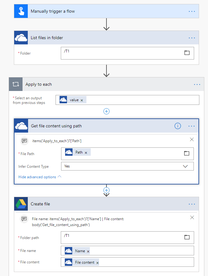 Files from OneDrive Business to google Drive - Power