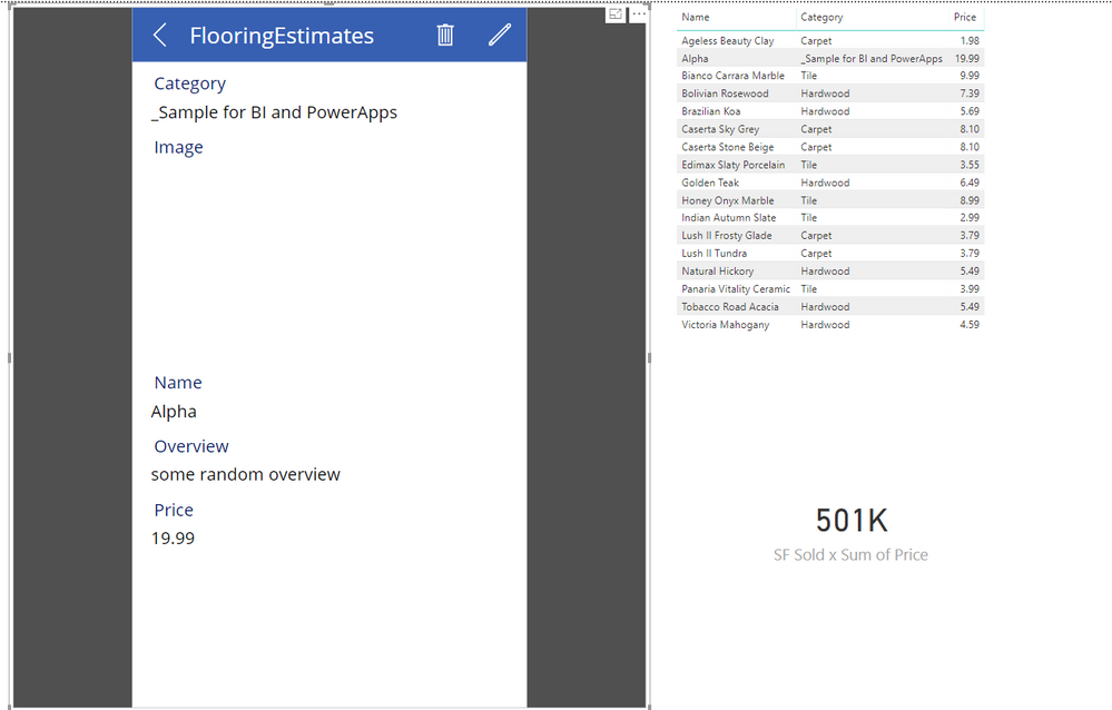 Flooring Estimates Alpha Selection from PowerApps Visual.PNG