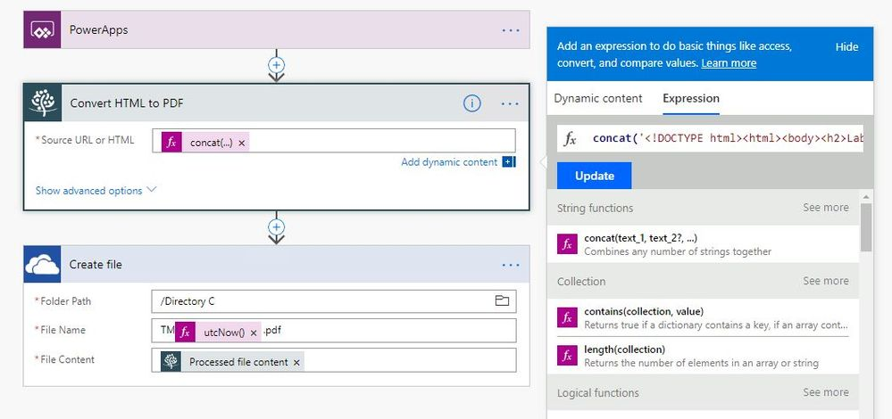 Powerapps HtmlText to PDF Conversion Flow - Format