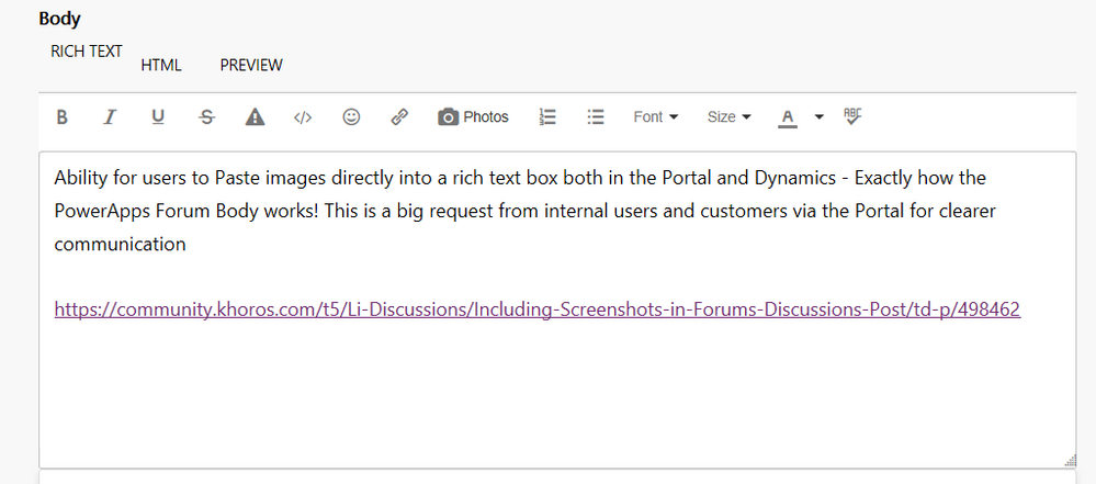Paste in Images in Rich Text Box in Portal and Dyn    - Power