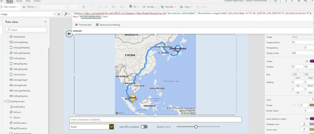 Google Maps showing start location and destination    - Power
