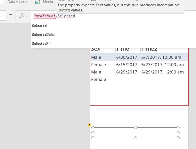 Issue with DataTable Selected in PowerApps - Power Platform Community