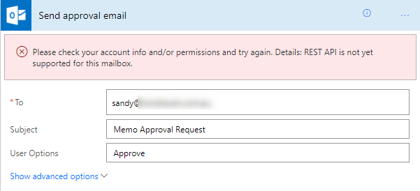 REST API is not yet supported for this mailbox lic