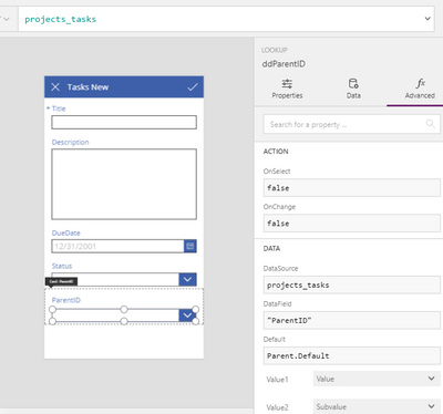 Add new Task form and Parent ID